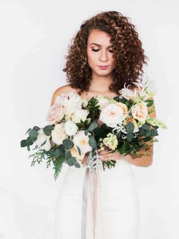 Portland Oregon Wedding Florist, Foraged Floral, winter wedding flowers in peach, white and blush pink with peonies, roses, and hellebores