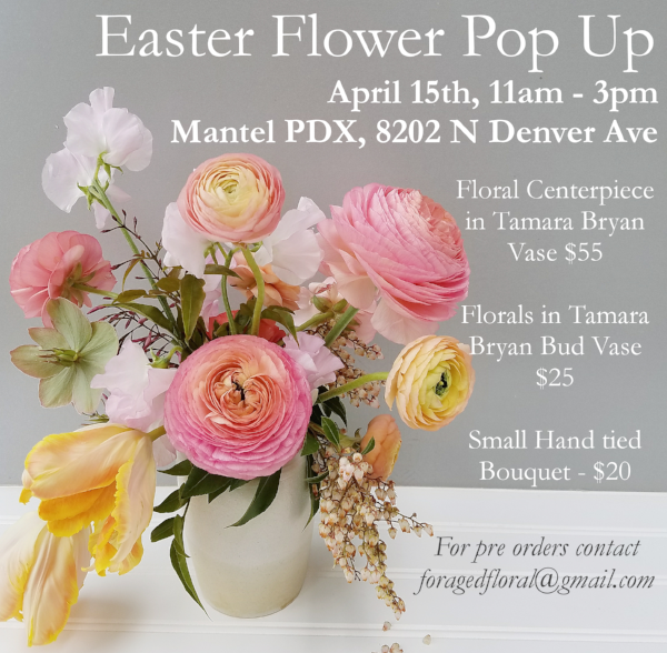 portland oregon spring easter pop up shop by Foraged Floral in Portland Oregon with spring centepiece in pastel colors with ranunculus, sweet pea and hellebores