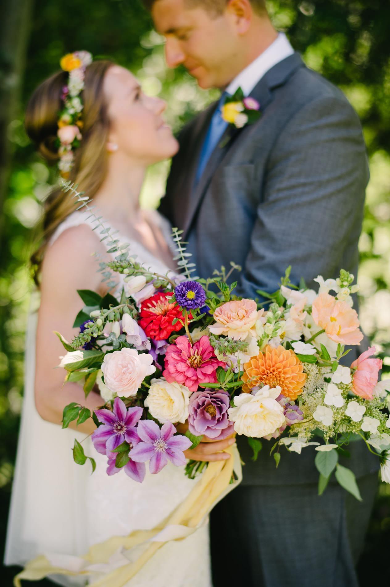 rainbow colored wedding bouquet at mt hood organic farms.jpg