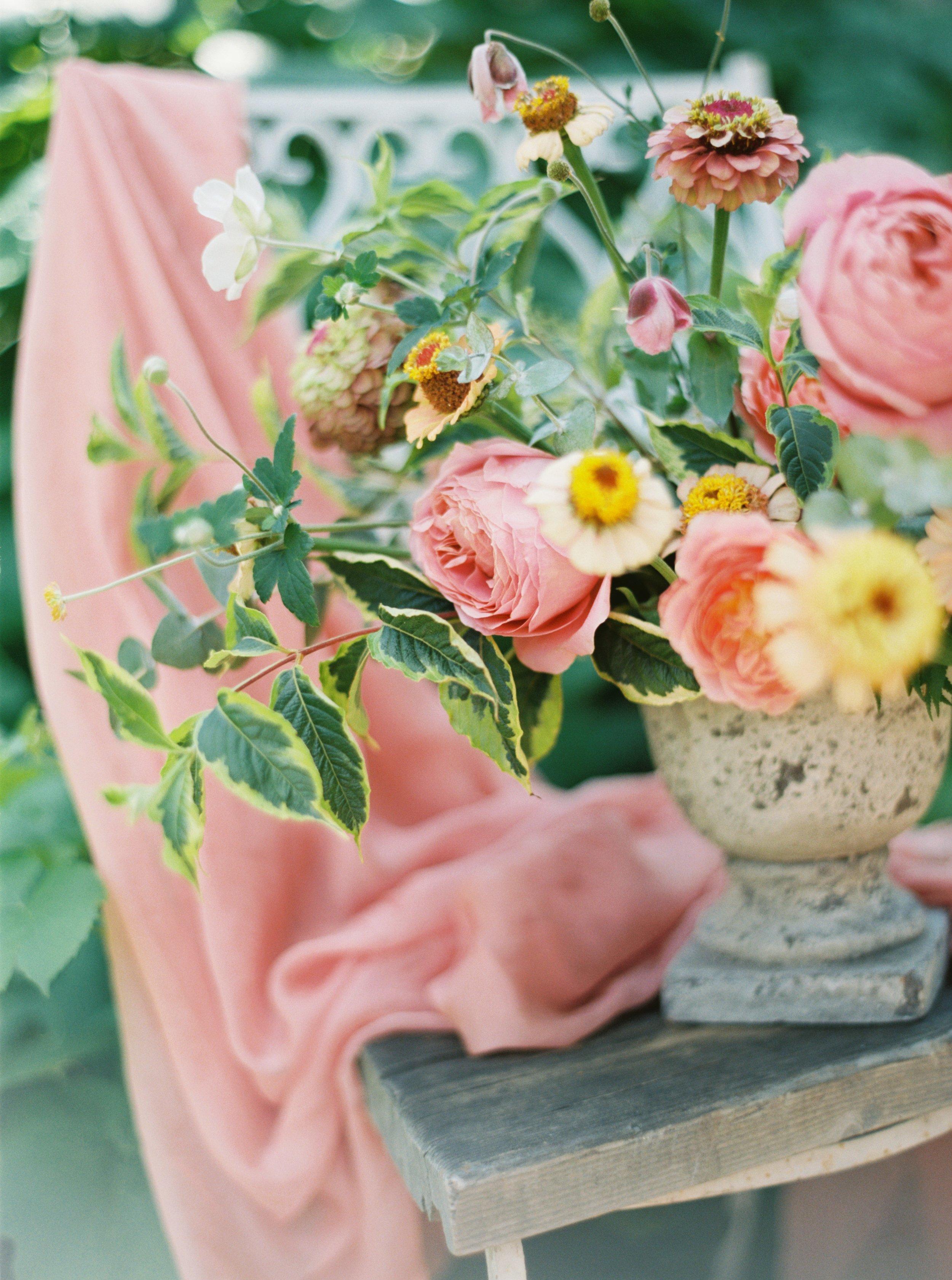 summer wedding centerpiece with zinnias and dahlias.jpg
