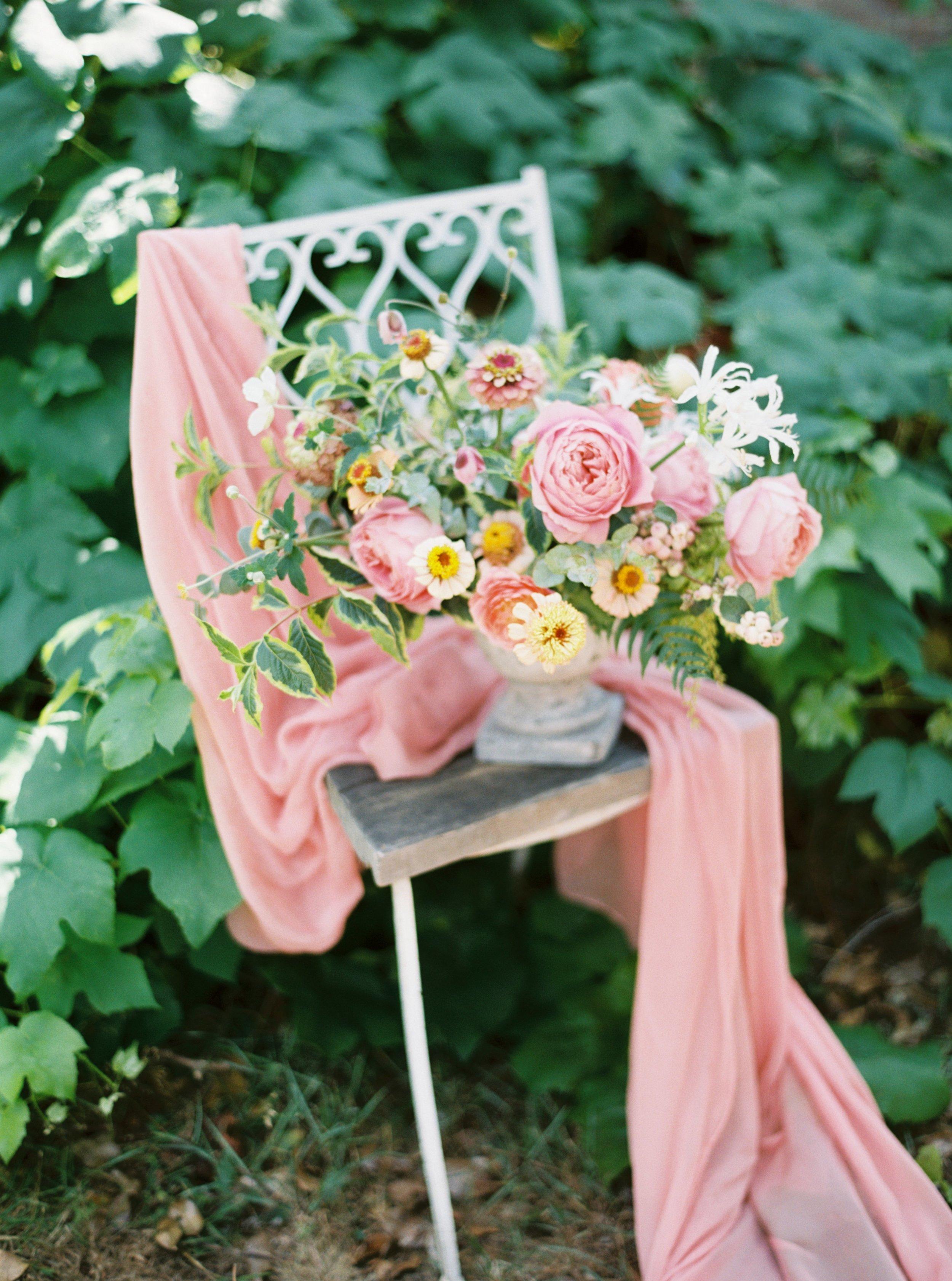 summer flower centerpiece with zinnias and dahlias.jpg
