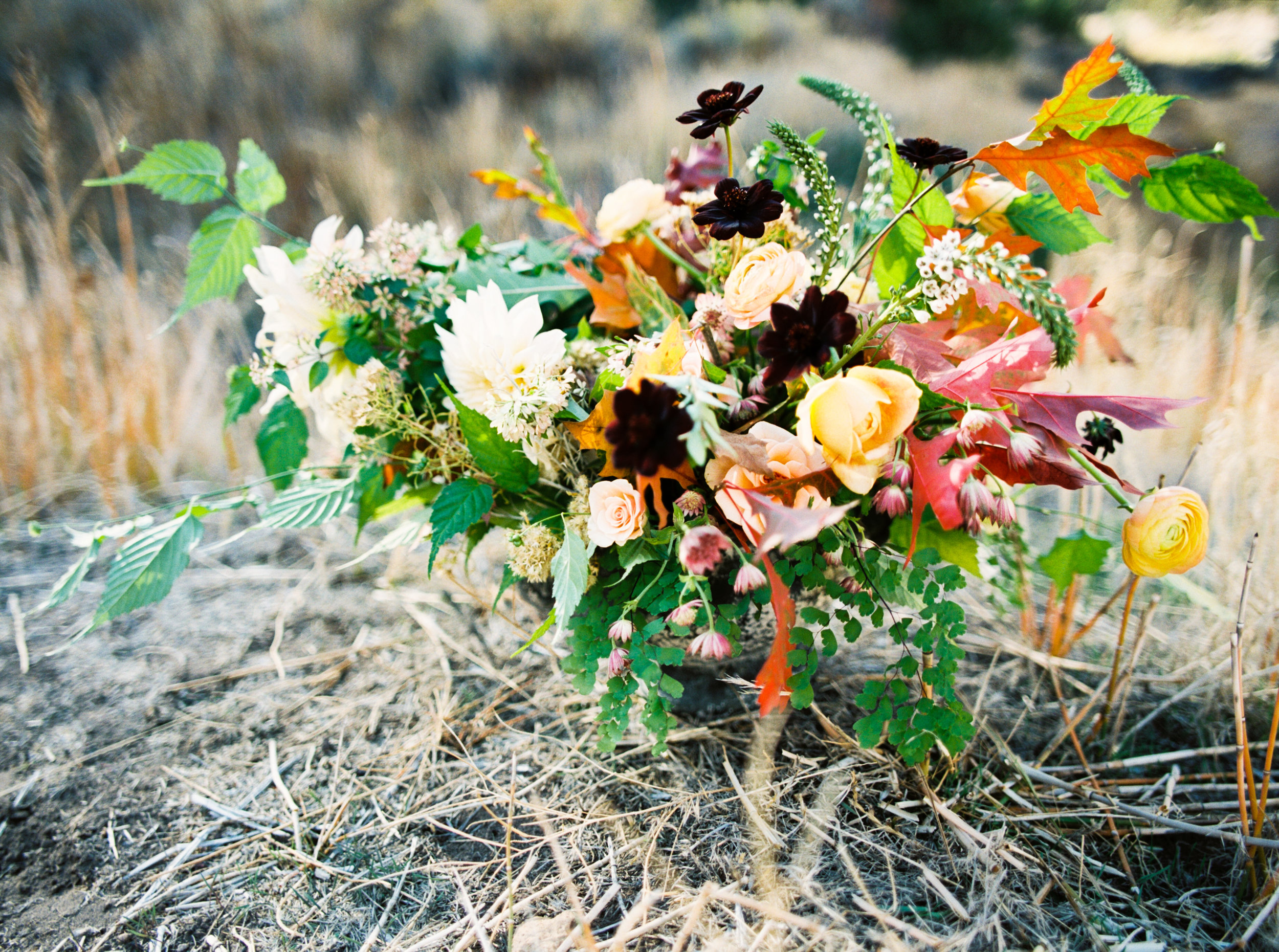 fall colored centerpiece with dahlias and foraged greens.jpg