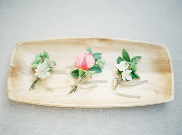 Spring boutonnieres in pastel colors by Foraged Floral