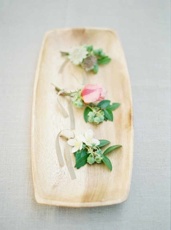 Spring boutonniere inspiration in shades of pastel colors by Foraged Floral
