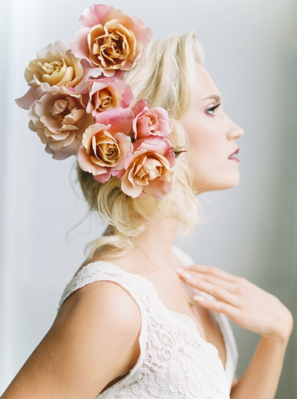 Avant garde bridal beauty editorial with fresh flower hairpiece and installation with peonies and garden roses by Foraged Floral