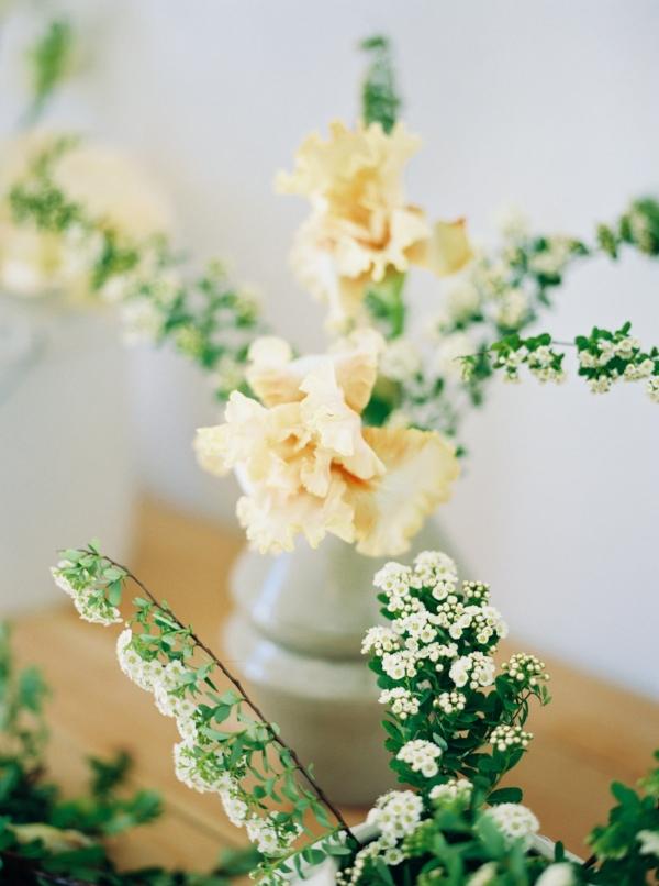 Portland Oregon Wedding Florist, Foraged Floral, spring flowers peach iris and spirea.jpg