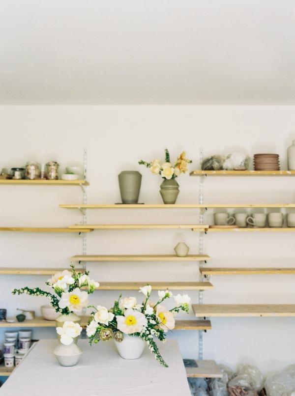 Portland Oregon Wedding Florist, Foraged Floral, spring flowers with handmade pottery.jpg