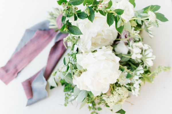 White peony wedding bouquet by Foraged Floral in Portland, OR