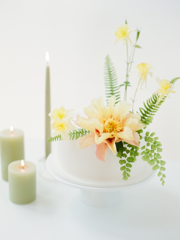 Unique wedding cake inspiration with yellow peonies on wedding cake by Foraged Floral