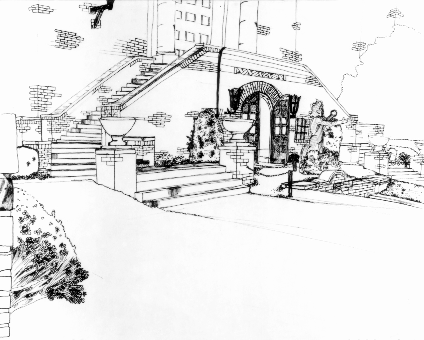 UPenn Anthropology Museum Sketch. Pen and Ink. 1985