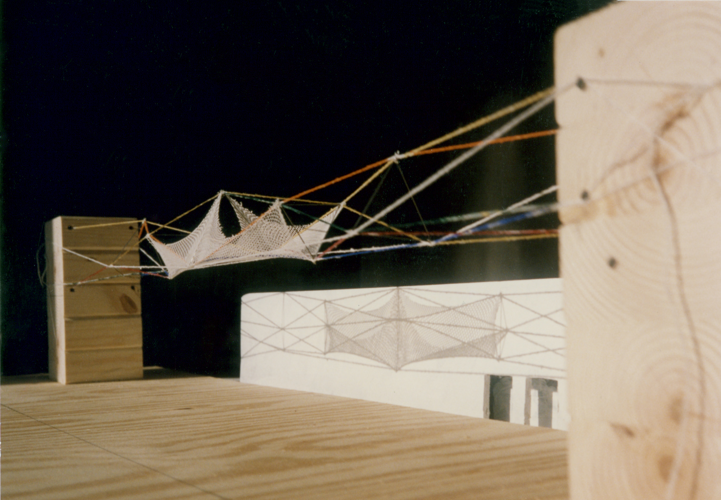 UPenn 3D Bridge Study Model: Wood, String, Mesh, and Steel. 1991