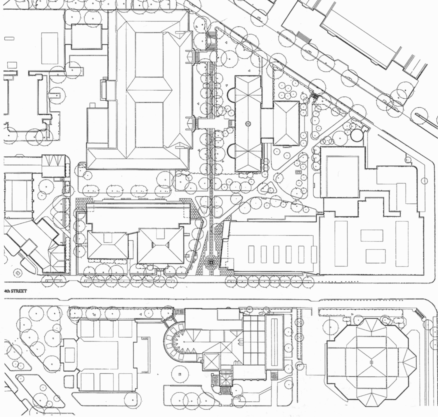 Site plan (Furness's library at bottom)
