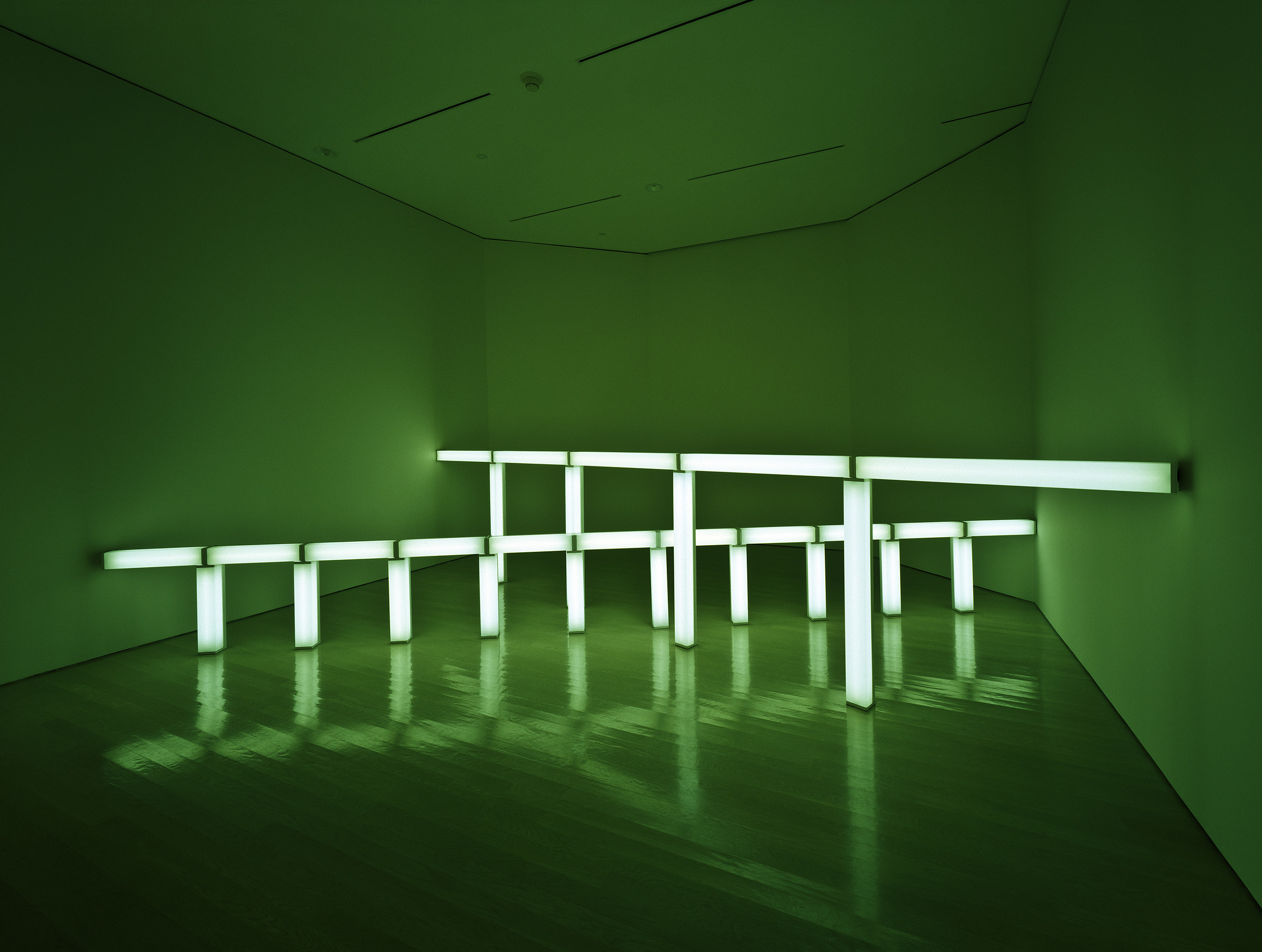 Dan Flavin, greens crossing greens (to Piet Mondrian who lacked green), 1966 Green flourescent light First section: 4 ft (122 cm) high, 20 ft (610 cm) wide Panza Collection, 1991 91.3705 Photo: David Heald SRGF, NY