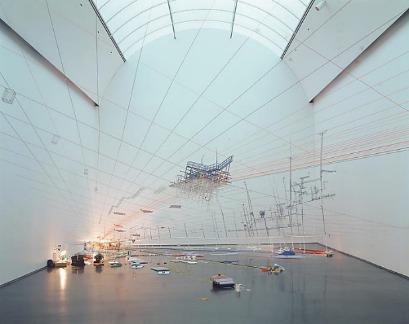 Sarah Sze,  Proportioned to the Groove , 2005 Mixed media, dimensions variable Installation View, Fluidity of Time: Selections from the MCA Collection , MCA Chicago, 2005-2006