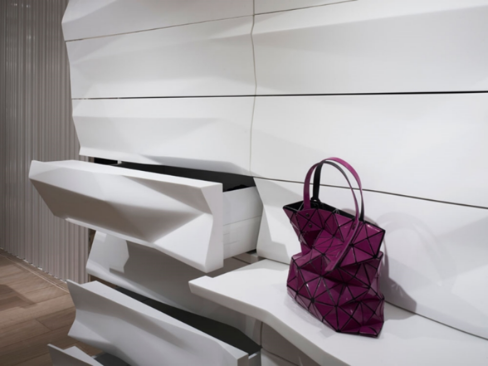 Fixtures for Issey Miyake Pleats Please boutique within Printemp Department Store, Paris, 2011