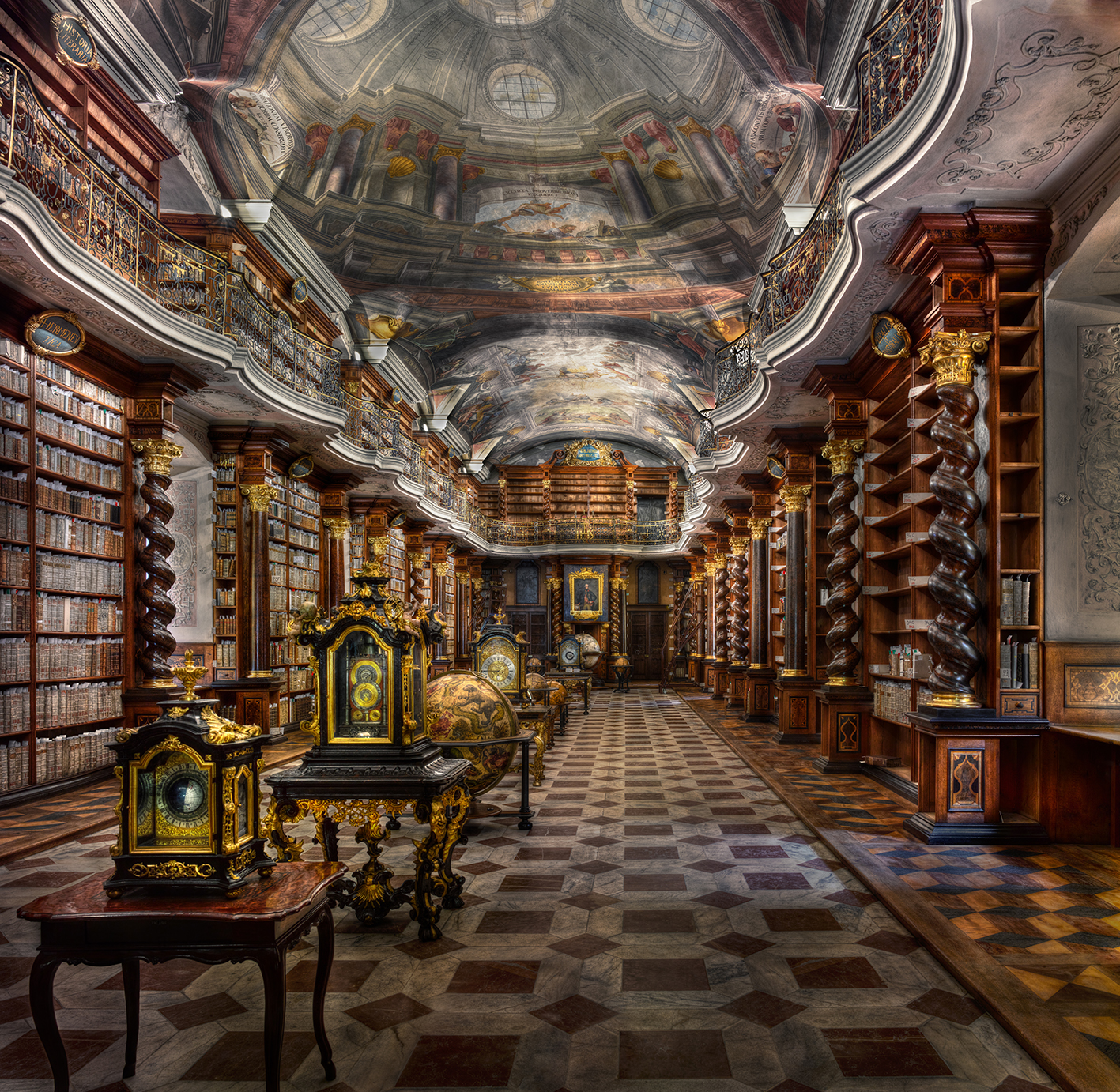 Christian Voigt,  Baroque Library Hall  -  Clementinium , Prague Series, 74 x 75 inches (188 x 192 cm), 2015, edition of 12. Courtesy of UNIX Gallery