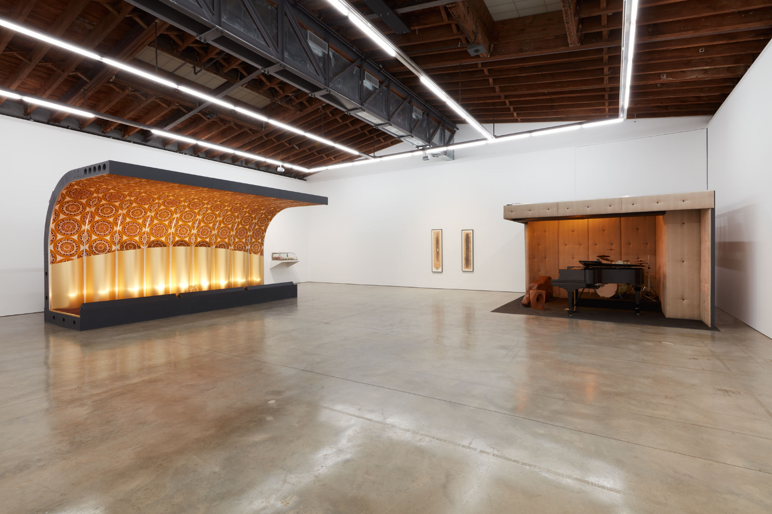 """Jason Moran,  STAGED ,  Savoy Ballroom 1  and  Three Deuces , 2015,Mixed media, sound,120 x 216 x 120 inches (304.8 x 548.6 x 304.8 cm).     0   0   1   11   60   company   1   1   70   14.0                   Normal   0           false   false   false     EN-US   JA   X-NONE                                                                                                                                                                                                                                                                                                                                                                       /* Style Definitions */ table.MsoNormalTable {mso-style-name:""""Table Normal""""; mso-tstyle-rowband-size:0; mso-tstyle-colband-size:0; mso-style-noshow:yes; mso-style-priority:99; mso-style-parent:""""""""; mso-padding-alt:0in 5.4pt 0in 5.4pt; mso-para-margin:0in; mso-para-margin-bottom:.0001pt; mso-pagination:widow-orphan; font-size:12.0pt; font-family:Cambria; mso-ascii-font-family:Cambria; mso-ascii-theme-font:minor-latin; mso-hansi-font-family:Cambria; mso-hansi-theme-font:minor-latin;}   © Jason Moran; Courtesy of the artist and Luhring Augustine, New York."""