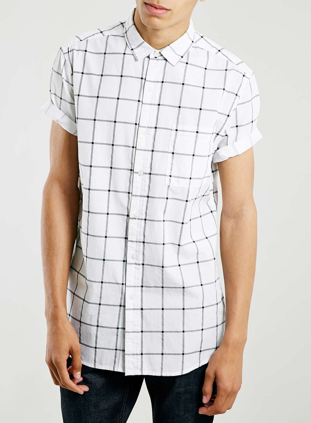TopMan's White Mono Grid Short-Sleeve Shirt