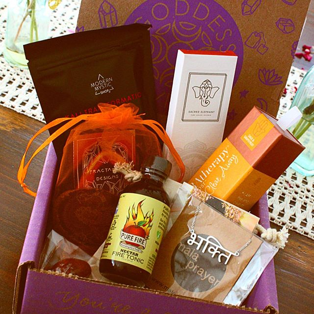 YOU GUYS. All I can say is this month's #goddessbox hit the nail on the head by bringing the HEAT! All of the earthy, firy goods in this month's box are incredible! Some of tiny faves are the Mala Prayer necklace and the fire tonic! As always— please let me know if you have any questions at all about this amazing subscription— all vegan products, all to inspire your inner magical goddess. 🥰🥰🥰 . . . . #goddessbox #goddessprovisions #positivevibes #goddess #magic #magick #whitewitch