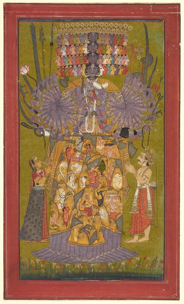 VISHVA RUPA:THE DIVINE FORM OF THE YOGI - The Bhagavad Gita, a canonical Hindu text, presents a spectrum of yogic doctrines and practices within a framework of personal devotion (bhakti) to Krishna. In its eleventh chapter, Krishna manifests in his cosmic form (Vishvarupa) and is praised as Lord of Yoga (Yogeshvara).Krishna VishvarupaIndia, Himachal Pradesh, Bilaspur, ca. 1740
