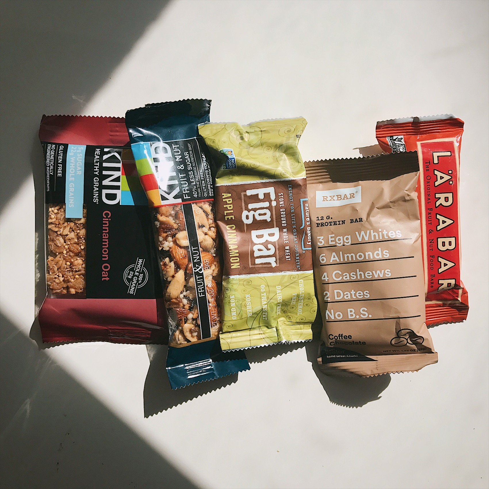 JOLI'S TOP 5 FOOD BARS - A.M. POWER:KIND HEALTHY GRAINS OAT BARENERGY ON THE TRAIL:KIND FRUIT + NUT BARAFTERNOON PICK-ME-UP:NATURE'S BAKERY FIG BARPOST-WORK OUT FUEL:RXBAR PROTEIN BARSWEET SNACK:LARABAR FRUIT + NUT BAR