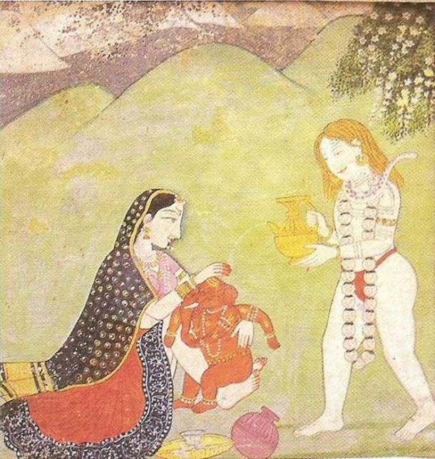 Baby Ganesha, as a symbol of growth and potential, with his divine parents Parvati and Shiva