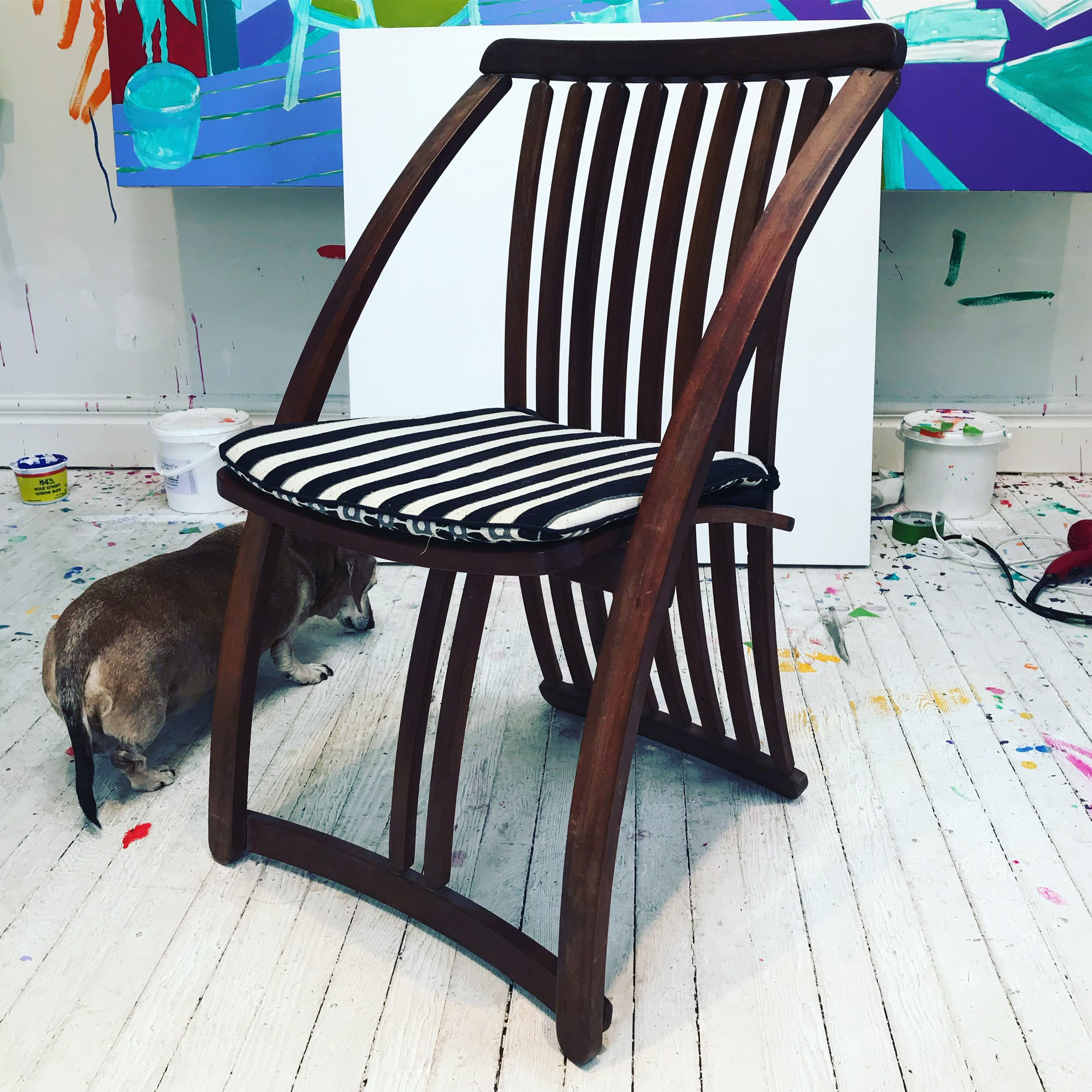See the process! This is the chair Andrew based the painting on in his Wortley Village studio (with special guest Miss Winnie)!