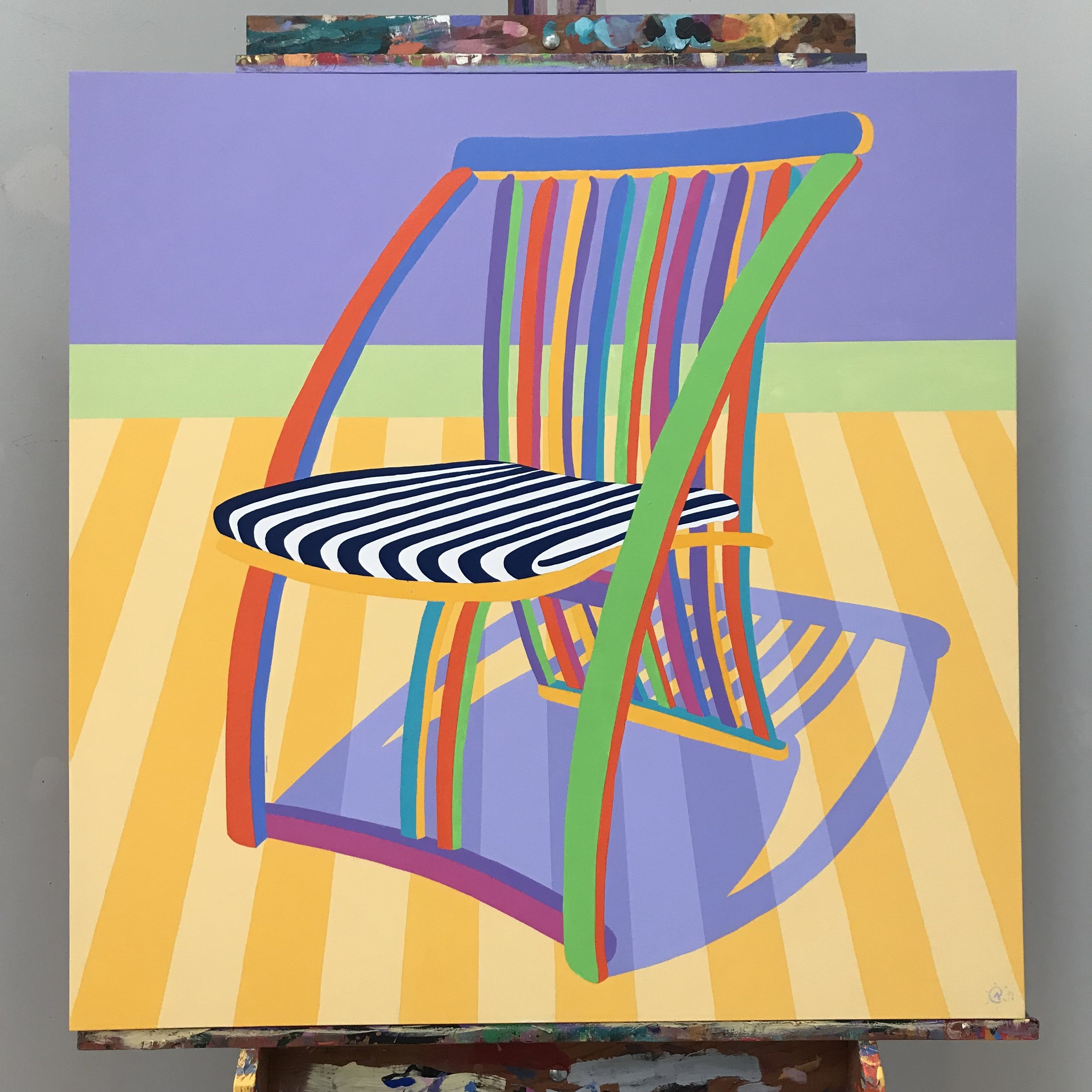"The finished piece: ""Thomas Lamb Steamer Chair""   An amazing work of dynamic line, shape, colour and perspective."