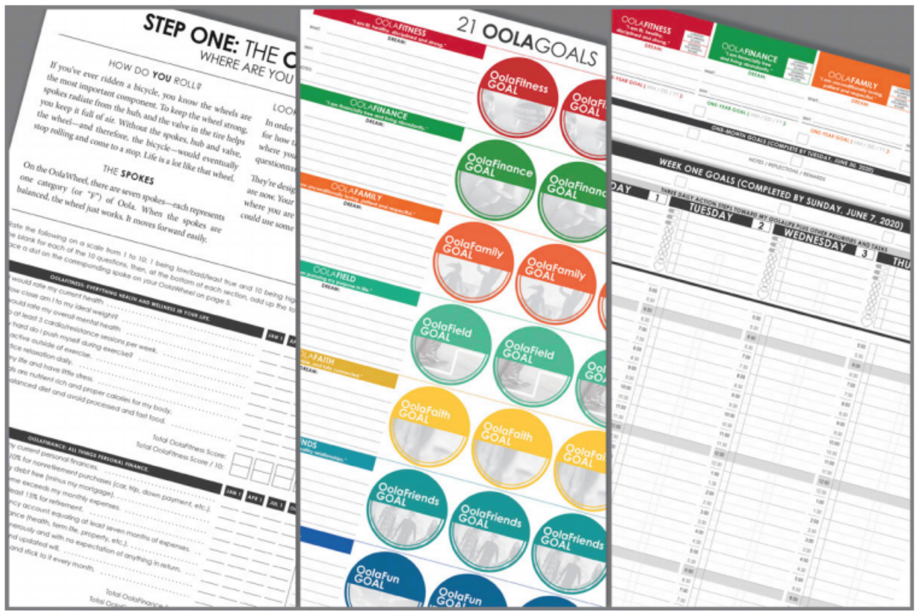 Complete 3 steps to set your goals and never lose track of them with the OolaPlanner's nested-page design!