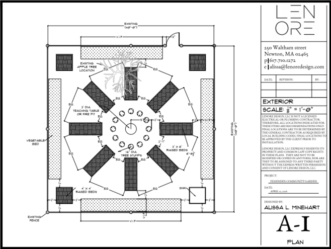 First CAD design of Community Garden. Courtesy of  Lenore Design