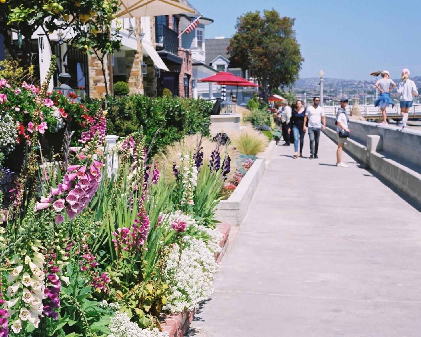 Boardwalk and Extended Seawall, Balboa Island, Newport Beach, CA.