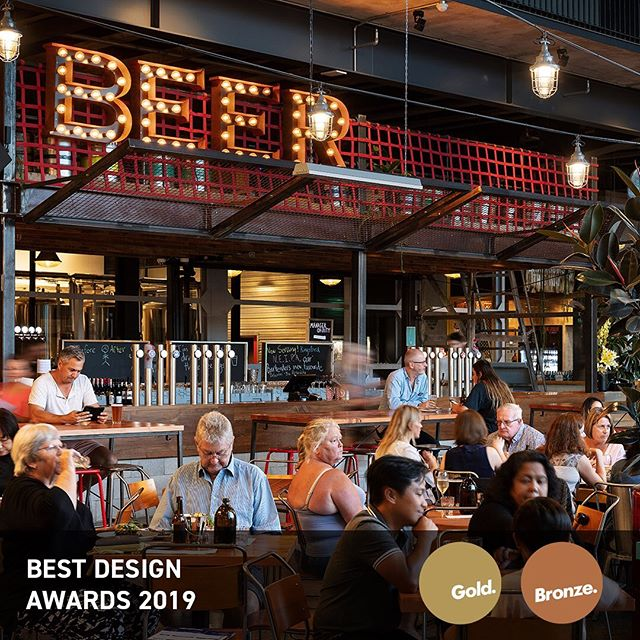 We're thrilled to announce that our Little Creatures project received two accolades at the @bestdesignawards on Friday night. In partnership with @cheshirearchitects, we received a Gold Pin for the Sunderland Hangar in the Repurposed category. Originally built in 1939 to house flying boats, this hangar is now home to Little Creatures, a bustling hospitality hub, in Hobsonville Point, Auckland. Ignite also received a Bronze Pin for Little Creatures in the Hospitality category. With a microbrewery on-site and an all-inclusive drinking and dining hall, designing this creative space inside a repurposed seaplane hangar has resulted in a truly memorable guest experience.  Excellent results for the team and well done to our supplier partners in their success!  Photography: Sam Hartnett