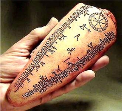Runic calendar inscribed in whale bone