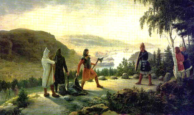 Egill Skallagrímsson engaging in holmgang with Berg-Önundr, painting by Johannes Flintoe (1787–1870)