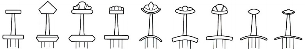 fROM LEFT TO RIGHT - CHANGES IN HILT DESIGN FROM EARLY VIKING AGE TO LATE VIKING AGE