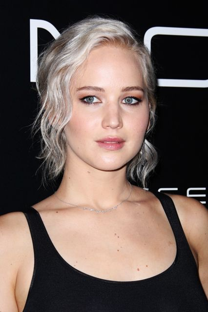 Jennifer Lawrence with her newly gray(ed) hair