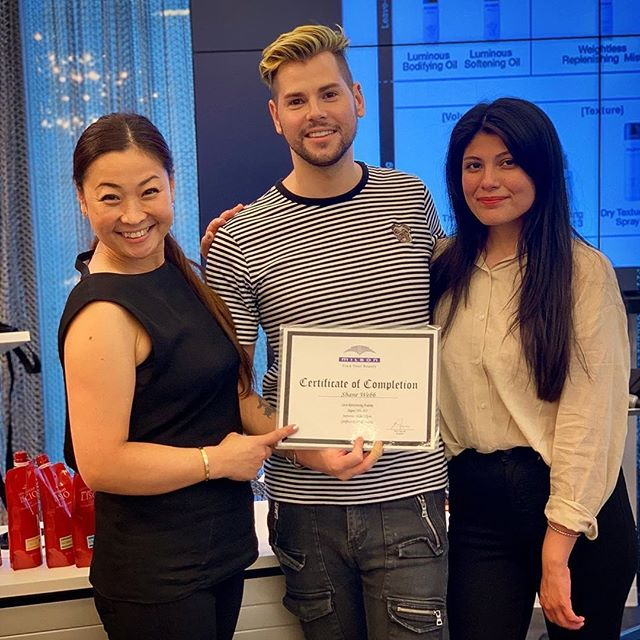"""We are so proud to have @shaneadamwebb certified in our Japanese Straightening Treatment! He says """"Top Best Chemical Education I have Ever Had! Thank You Milbon/Liscio and Of Course Educator @yoshienyc  For Your Time, Knowledge, and Confidence! Another Certification Conquered!"""" #discoveraudace #milbon #liscio #straighthair #chemicaleducation #partnerwiththebest #educationisthekey #opportunity #blessed🙏 #teammembertuesday  #normanhairsalon #straighteninghair"""