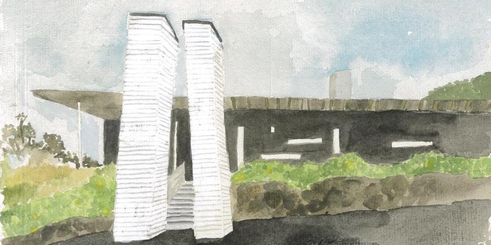 Watercolour of Linnaeus Centre by Courtney Cook