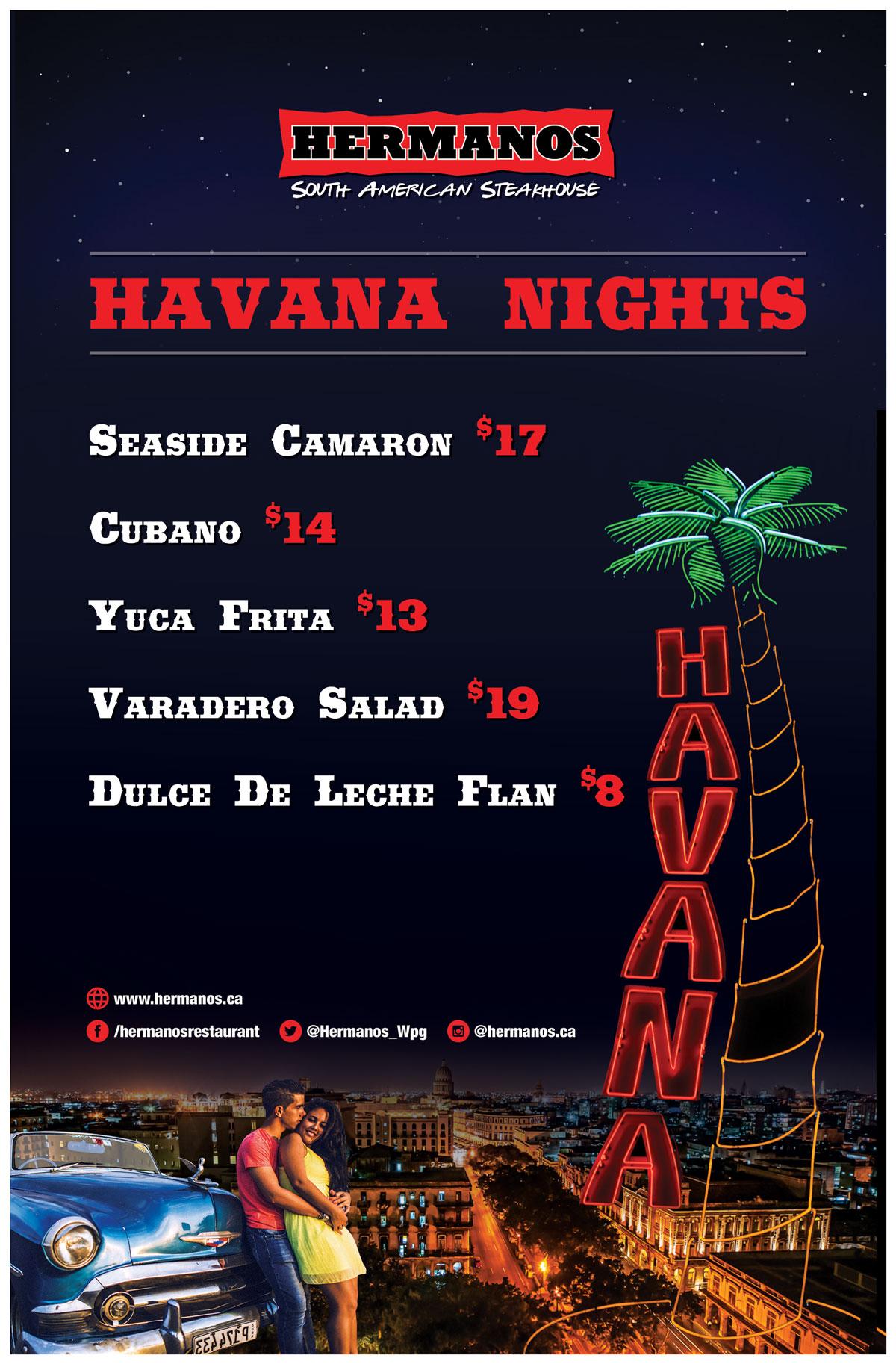 Havana Nights Menu A