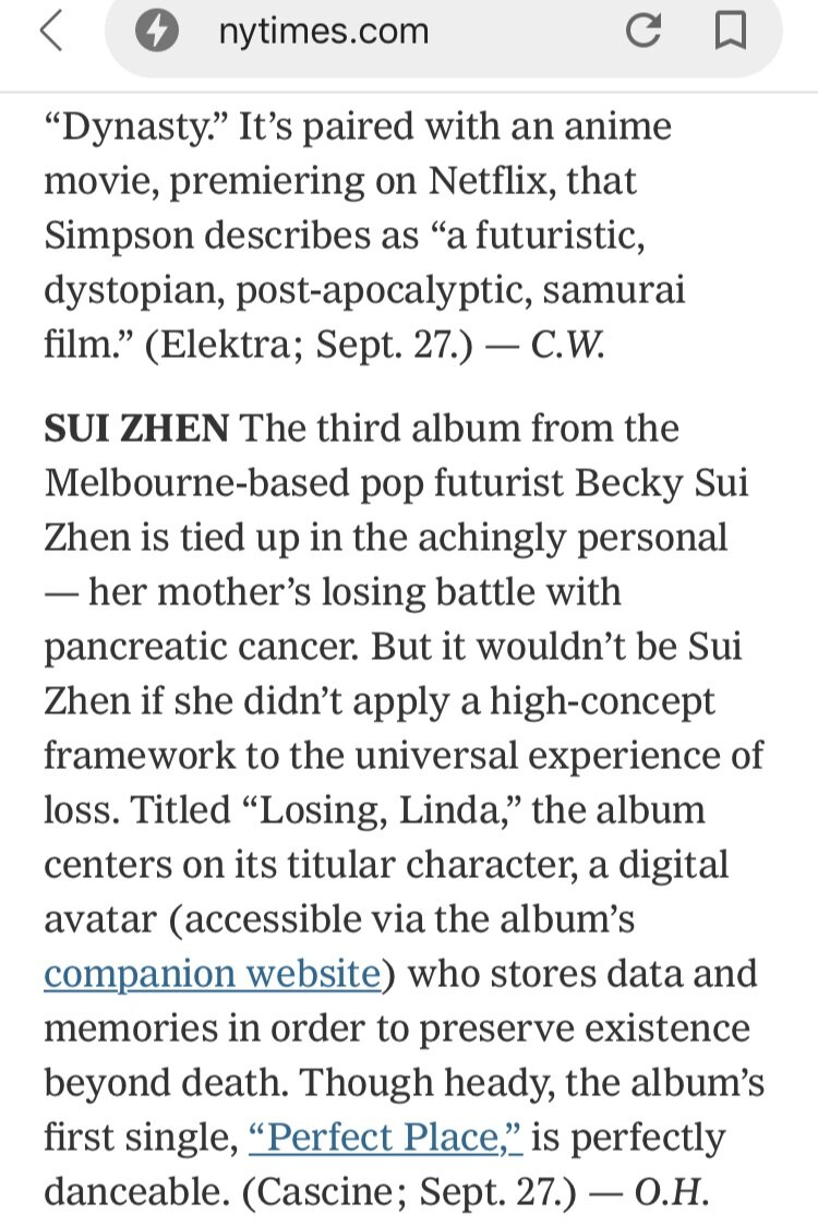 New York Times - Sui Zhen's Losing, Linda gets a mention :)