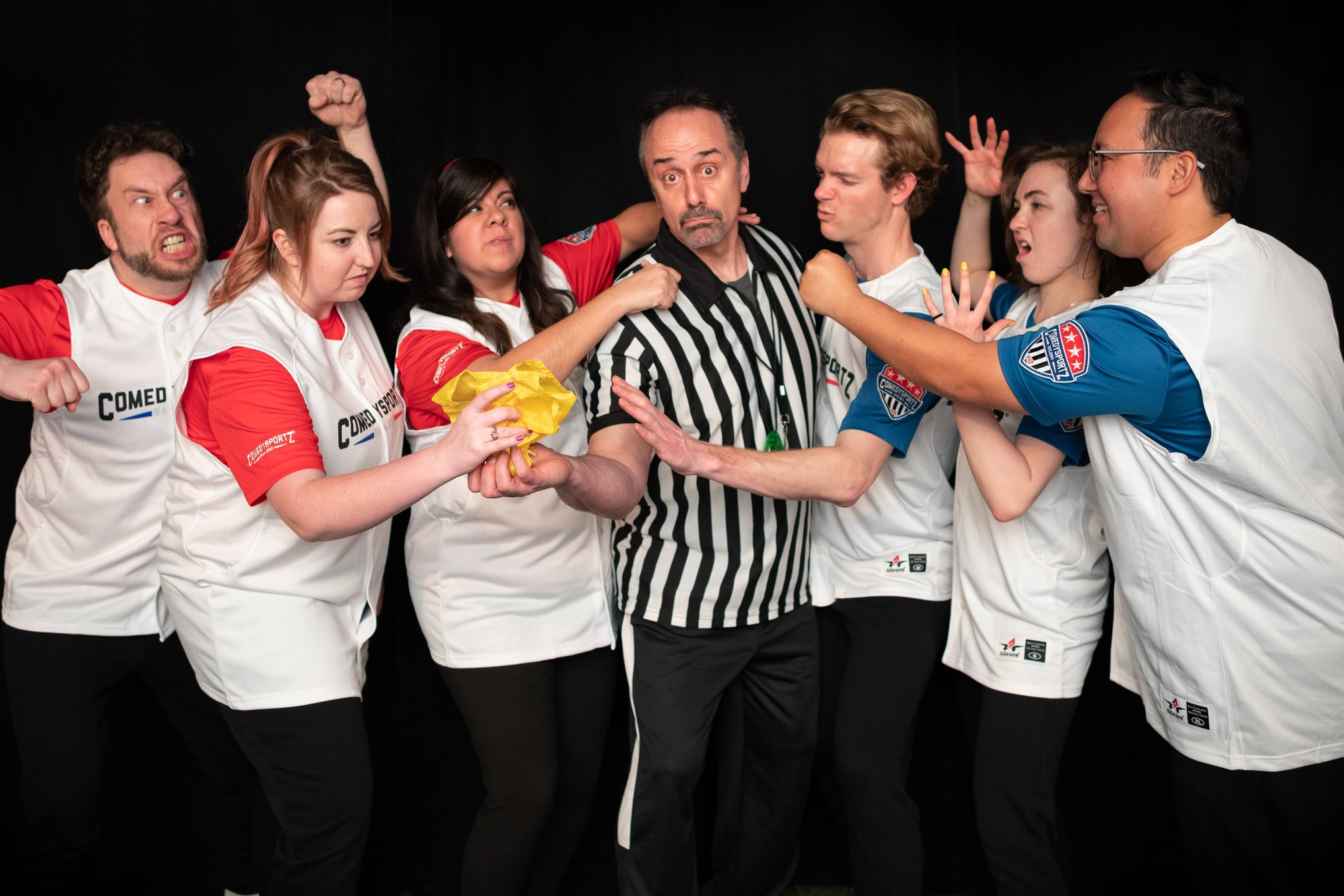 ComedySportz - Two teams of players compete in an improv match for laughs and points, with a referee getting suggestions from the audience and calling fouls. Each show is different, with different players, different games, and different audiences supplying new suggestions. The fans judge the scenes, and decide the winners and losers. And who knows, an audience member might even make it up on stage!