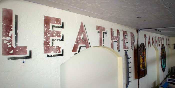 """""""Peabody Leather Tannery Co."""" - Vintage Distressed Spray Painted Wall Mural"""