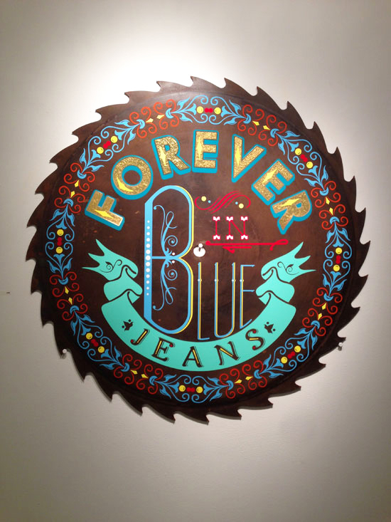 """""""Forever In Blue Jeans"""" - 40in Mill Saw Blade and vinyl"""
