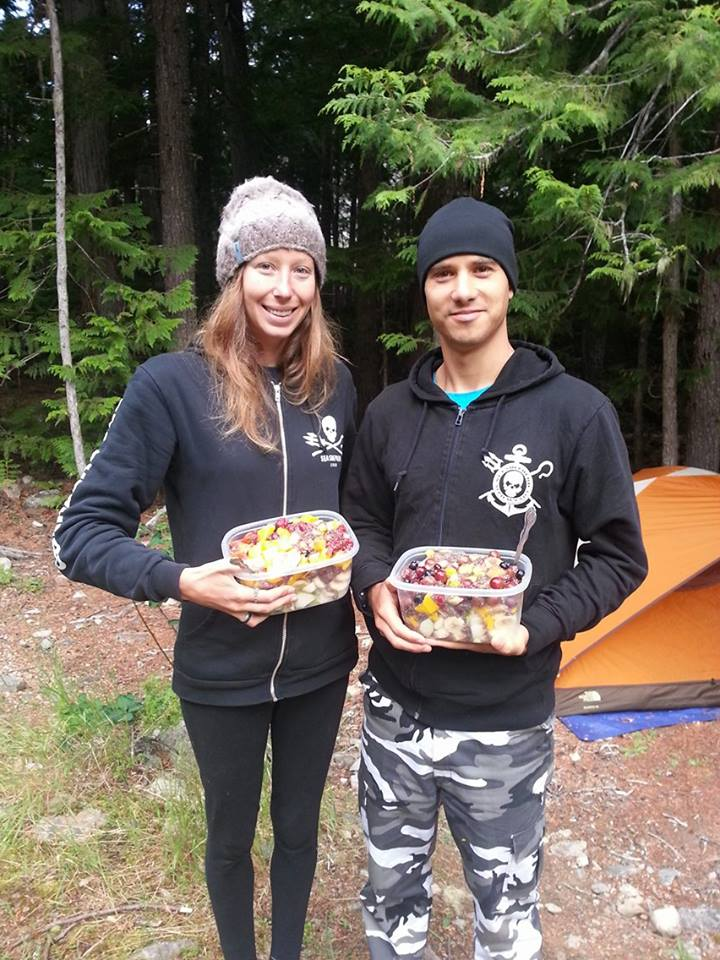 Katie and Gwen camping with Fruit Salad for breakfast!