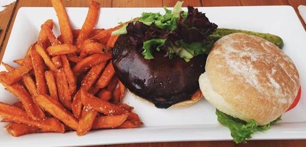 mushroom burger at restaurant.jpg