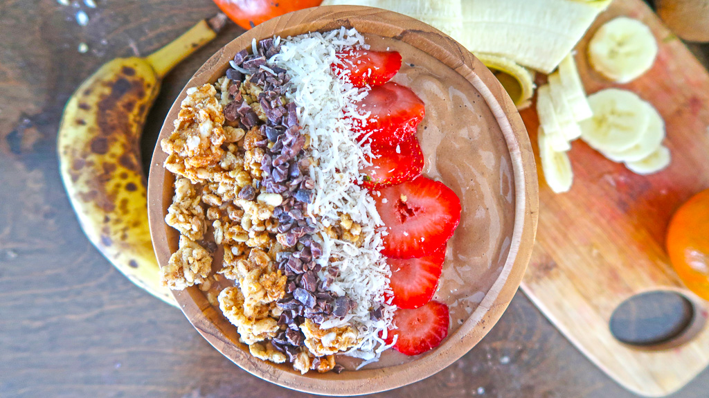This is a CHOCOLATE MILK-SHAKE SMOOTHIE BOWL from my sisters cafe Bunkhouse Coffee Bar in Jensen Beach Florida! She makes killer bowls!