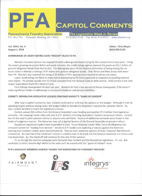 Capitol Comments is PFA's monthly digest of state and federal legislative and regulatory news relevant to metal casting