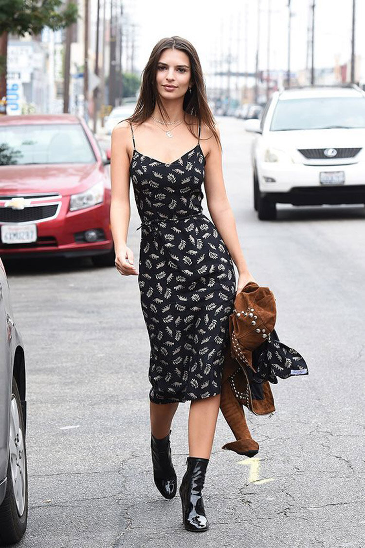 ankle boots with midi dress