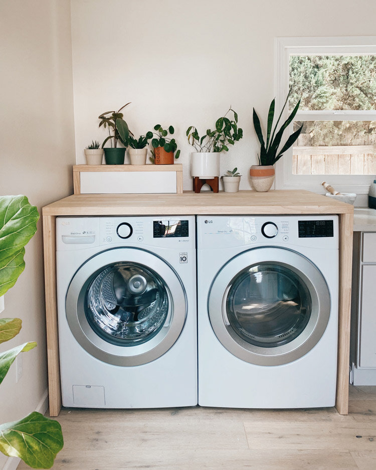 Diy Waterfall Butcher Block Washer, Building Cabinets To Hide Washer And Dryer