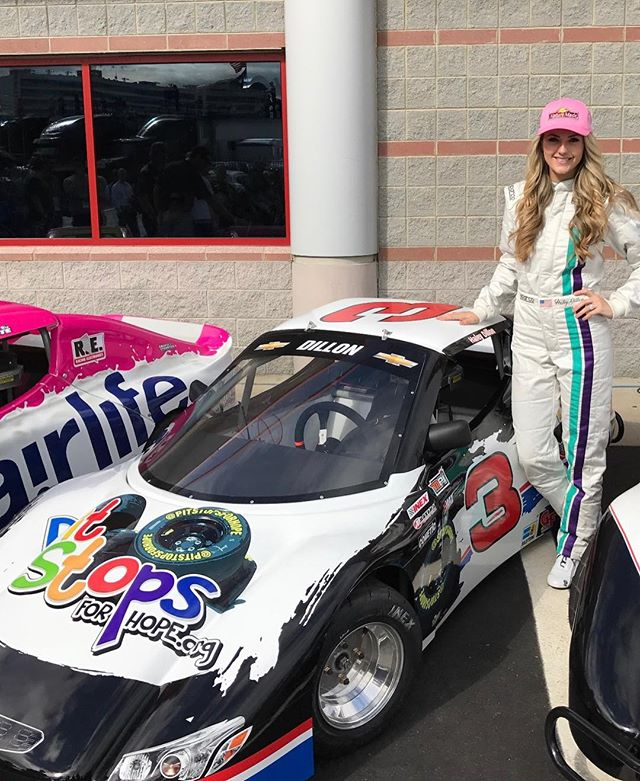 "We're SUPER grateful that we have such a great VP in Haley Dillon. Here she representing Pit Stops for Hope in the 2016 ""Better Half Dash"" at Charlotte Motor Speedway."